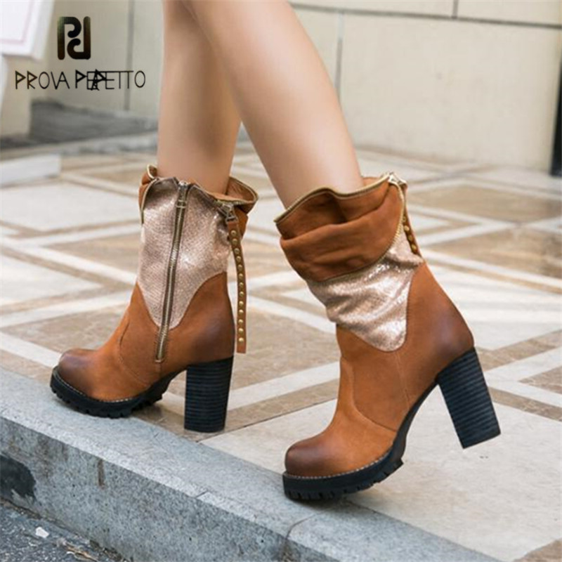 Prova Perfetto Retro Handmade Women Autumn Winter Ankle Boots Chunky High Heel Short Botas Mujer Platform Rubber Shoes Woman prova perfetto hollow out ladies gladiator sandals women platform pumps rivets chunky high heel shoes woman sandalias mujer