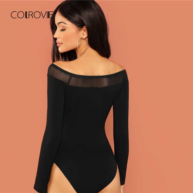 COLROVIE, однотонный, с открытыми плечами, сетчатый, прозрачный, элегантный, обтягивающий, черный, боди, женский, 2018, длинный рукав, сексуальный, для тела, офиса, женские комбинезоны
