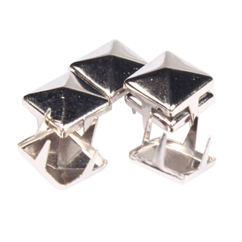 100Pcs/1Pack Fashion 7mm DIY Cummebunds Accessories Spike Square Stud Rivet Punk Bag Belt Craft Silver Stainless Steel