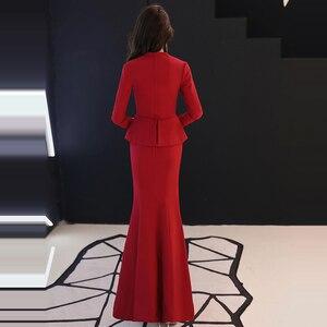 Image 4 - Resmi akşam elbise 2019 kırmızı v yaka uzun kollu Mermaid kat uzunluk müslüman kadınlar parti elbise artı boyutu Robe De Soiree e447