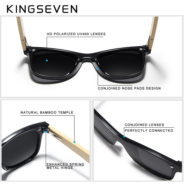 KINGSEVEN 2019 Real Bamboo Sunglasses Wood Polarized Wooden Glasses UV400 Sunglasses Brand Wooden Sun Glasses With Wood Case Men's Glasses