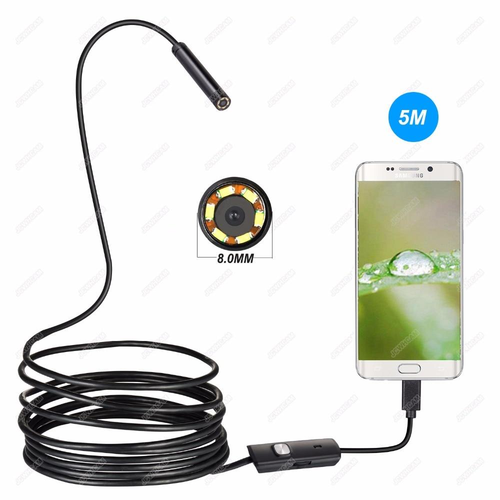 1/2/3/5 M 8mm USB endoscopio impermeable Borescope CÁMARA DE ALCANTARILLADO OTG USB alambre serpiente tubo cámara de inspección de coches