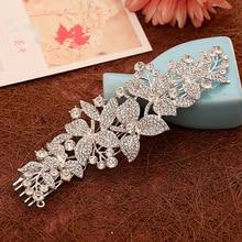 Woman Hairwear Wedding Flowers Leaf Jewelry Bride Haircomb Environmental Friendly Rhinestone Accessories Fashion Crystal Combs