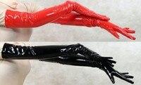Высокое качество удлиненные красный/черный ПВХ Прихватки для мангала опера Длина 55 см Фетиш Zentai ролевая игра PU Прихватки для мангала