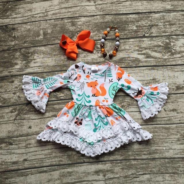 2016 niñas ropa bebé niños Otoño Invierno encaje de impresión zorro animal vestido con encanto manga larga con collar a juego y el arco conjunto