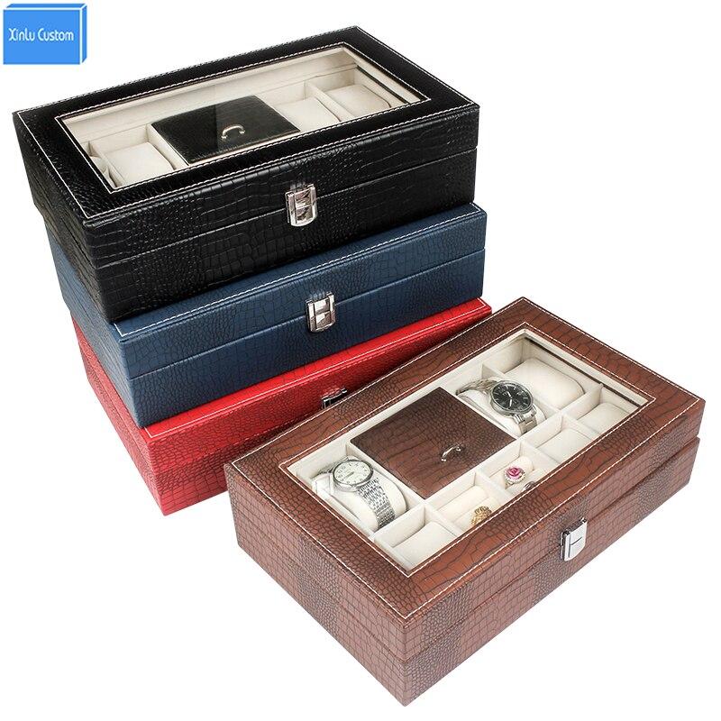 Retail/Wholesale Luxury Animal Pattem Leather Wood 8+2 Watch Box Jewelry Ring Collect&Display PVC Window Gift Women Travel Box