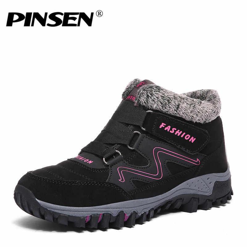 PINSEN 2020 moda kış kadın ayakkabı yüksek kaliteli kaymaz kar botları sıcak tutmak kürk peluş su geçirmez yarım çizmeler için kadın
