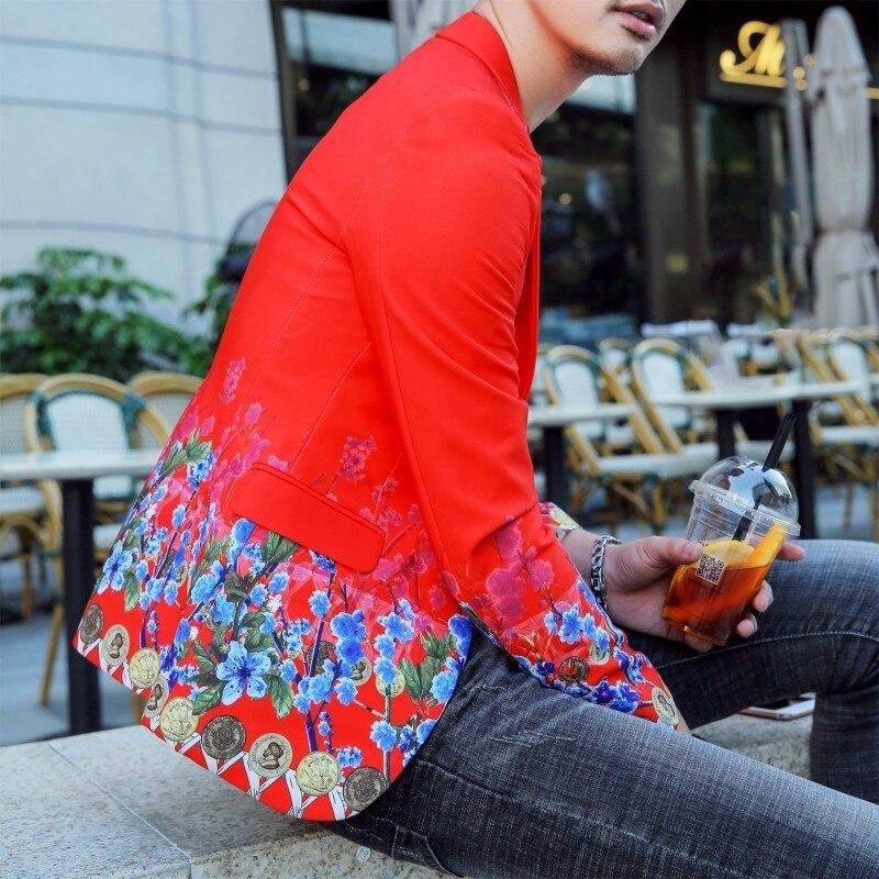 Rojo caliente Slim Fit Blazer Hombre flor Vintage Hombre Chaqueta Hombre de chaquetas para los hombres de la boda Hombre Blazer traje chaqueta coreano-in chaqueta de deporte from Ropa de hombre    1
