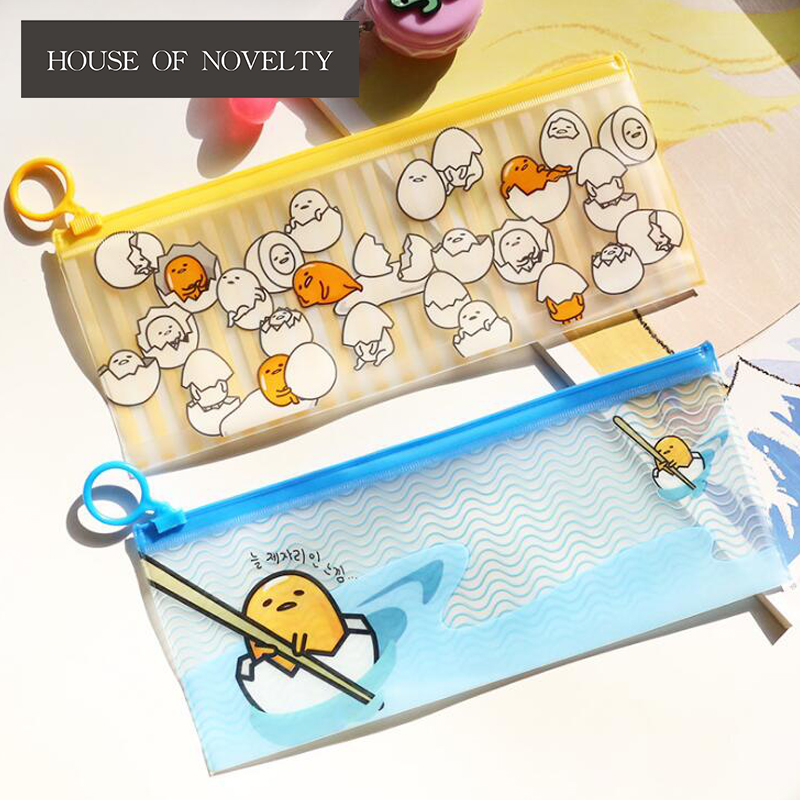 Lazy Egg PVC Waterproof Pencil Bag Stationery Storage Organizer Bag School Supply Student Prize
