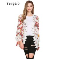 Tengeio Women Casual Boho Floral Chiffon Kimono Jacket Long Sleeve Crochet Bohemian Long Lace Cardigan Summer