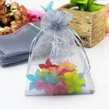 1000pcs/bag Gray Silver color candy bag 7cmx9cm mesh bags Packing Drawable Organza Bags wedding gift