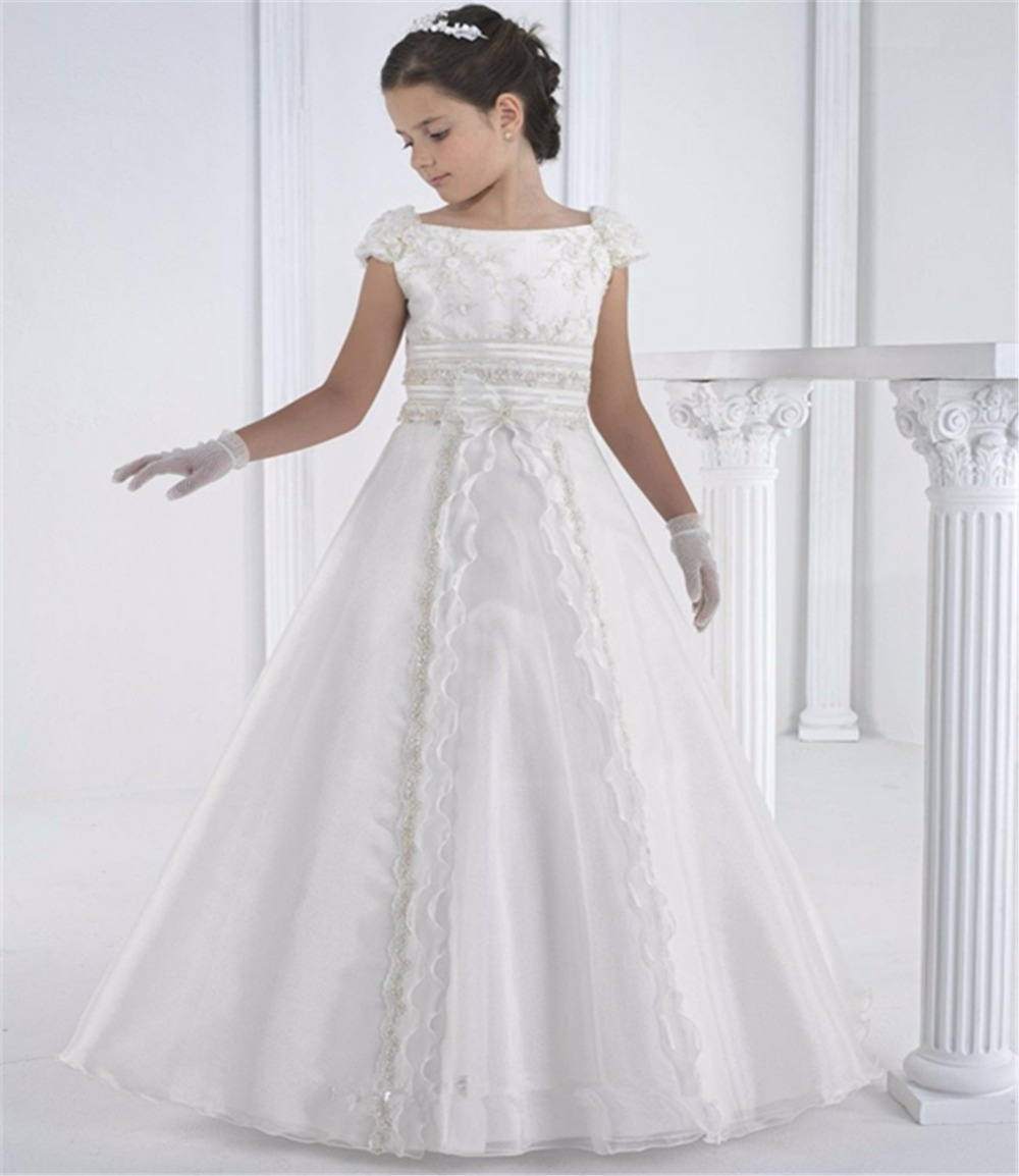 2016 First Communion Dresses Floor Length Princess White