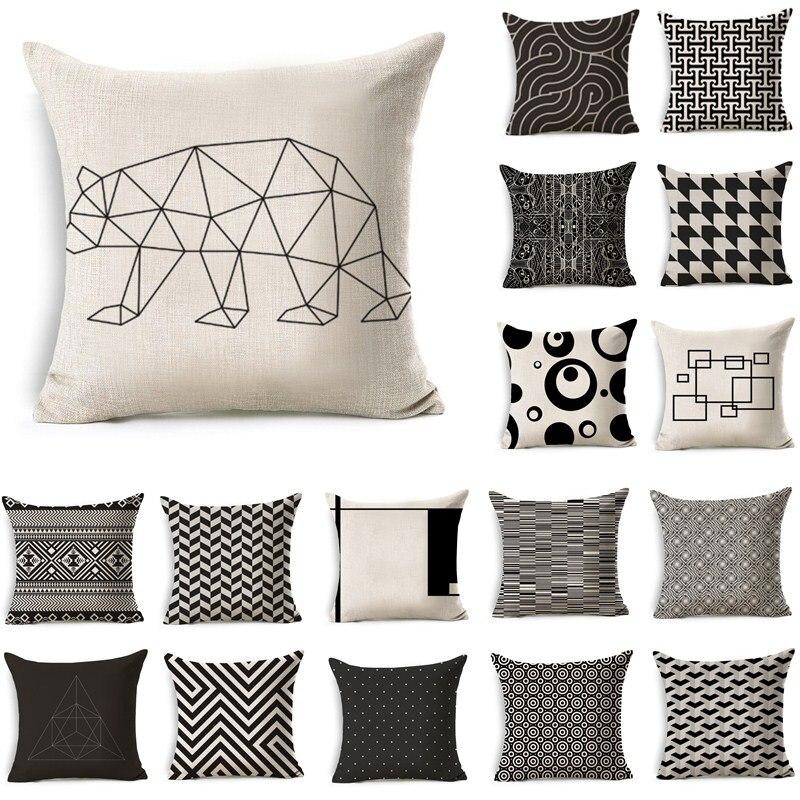 Nordic Style Beige Black Geometric Pattern Cotton Linen Throw Pillow Cushion Home Decor Cover Sofa Decorative Pillowcase 40198