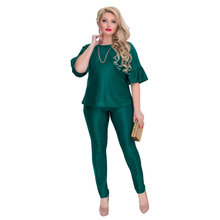 2018 Autumn Women 2 Pieces 6XL Twin Clothing Set ladies Suits Tops + Pants Female Trouser Sets Oversized Women Sets Tracksuit