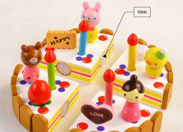 Free delivery  factory price wooden toys scale models Cake, mini wooden decoration cake set, children Educational play toys