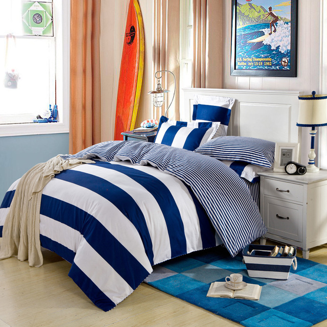 Modern Simple Design Navy Blue Stripe Mens Bedding Set Queen & King Size Bed Linens Duvet Cover Pure Cotton Fabric Home Textiles