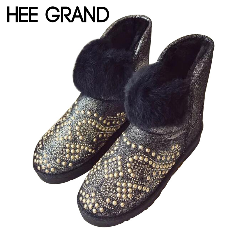 HEE GRAND Rivet Decoration Snow Boots Women Winter Shoes with Short Plush Inside Women's Fashion Thick Fur Keeping Warm XWX6413  2017 new women snow boots winter fox fur boots suede leisure shoes thick warm short boots plush girls fashion boots black brown