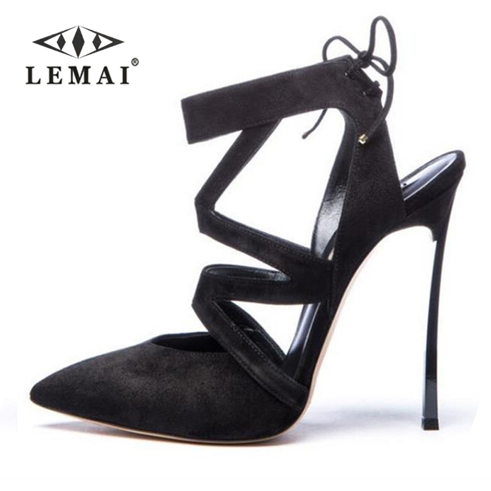 LEMAI Gladiator Sexy Elegant Sandals Woman Plus Size Shoes 2018 Summer High Heel Flock Fashion Pointed Toe Handmade Thin Heels creativesugar elegant pointed toe woman