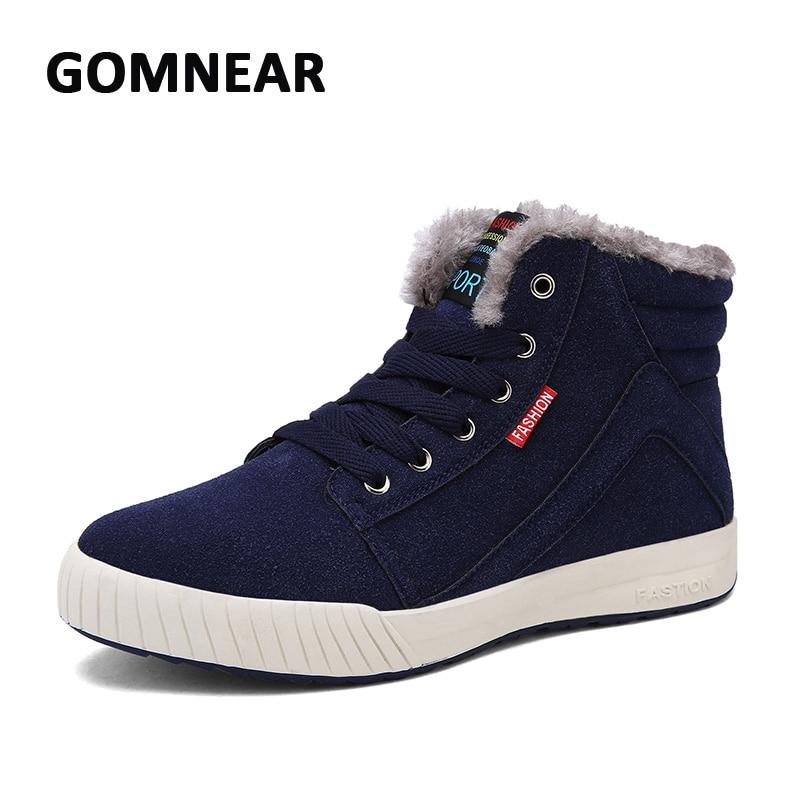 ФОТО GOMNEAR Men's Warm Plus Velvet Cotton Skateboarding Shoes Breathable  Comfortable Trend Walking Sneakers Flexible Trekking Boots