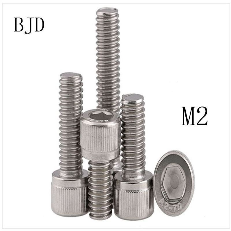 100PCS <font><b>M2</b></font> <font><b>2mm</b></font> bolts GB70 <font><b>M2</b></font>*3/4/5/6/8/10/12/14/16/18 Stainless steel mini internal six angle screws fixed screw for toys image