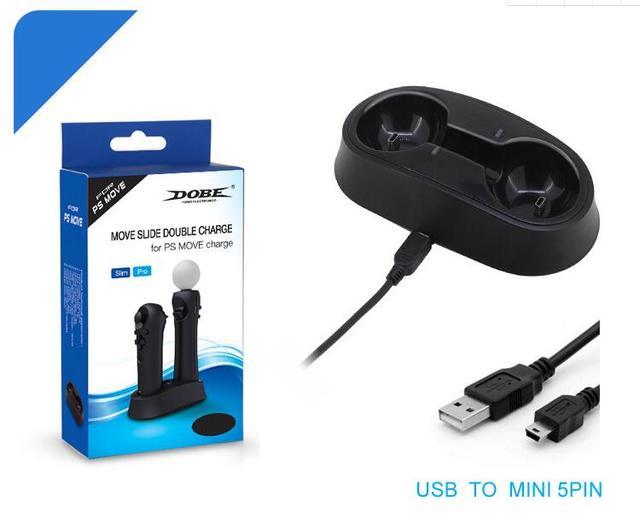 플레이 스테이션 이동 컨트롤러 용 듀얼 충전기 독, PS3 / PS4 VR 모션 컨트롤러와 호환되는 USB 충전 스테이션 검정색