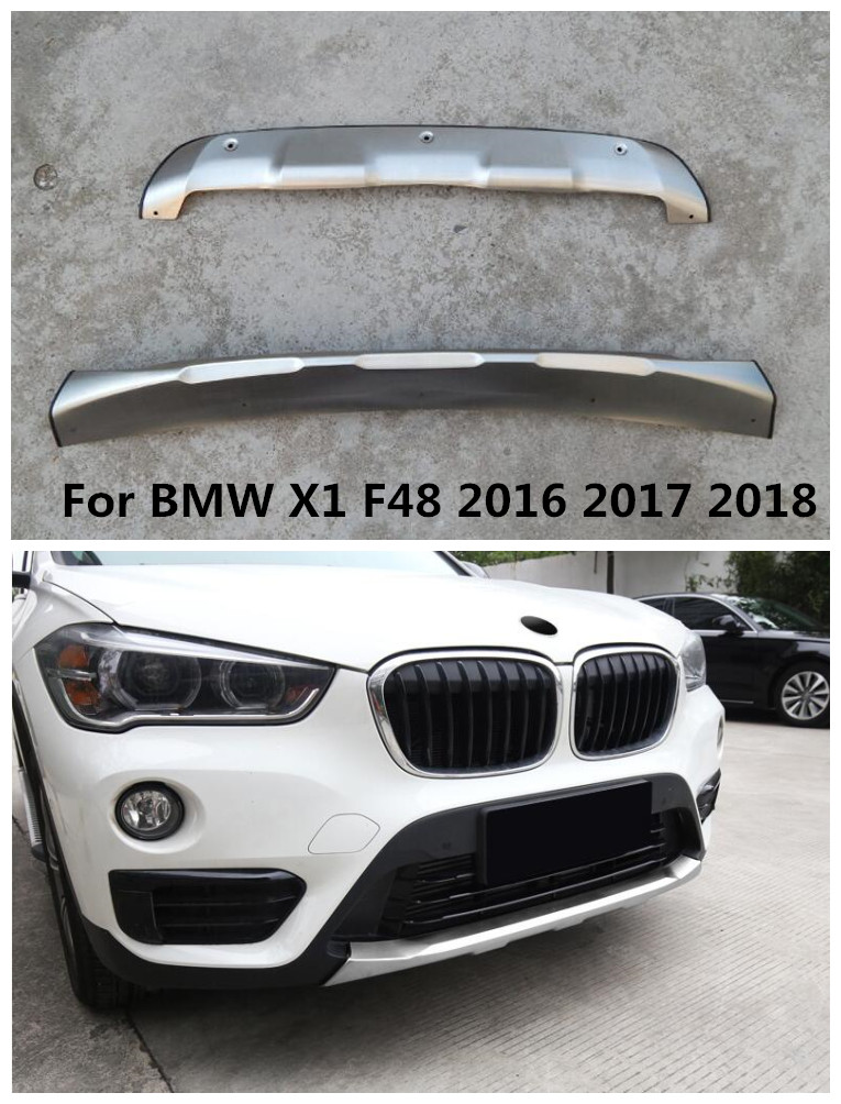 Stainless Steel Front + Rear Car Bumper Lip Diffuser Protector Guard Skid Plate Fit For BMW X1 F48 2016 2017 2018 BY EMS