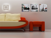 Modern Artwork Statue Of Liberty Rome Colosseum And Paris Metro Eiffel Tower On Canvas Painting Wall