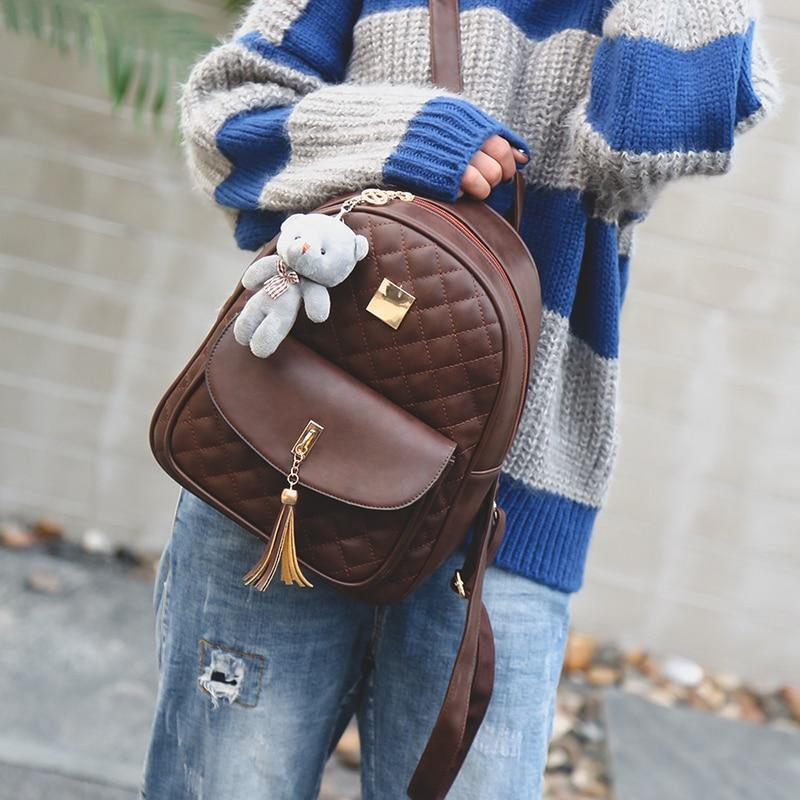 New Arrival 3pcs/set Small Bear Girls School bag PU Tassel Women Backpack Double Zipper Women Bag Vintage Backpack bags