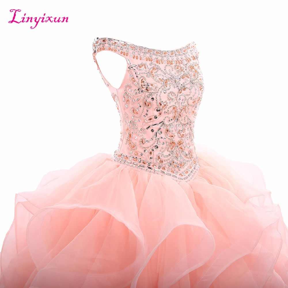 Linyixun real foto cristal bola vestido quinceanera vestidos 2017 com miçangas doce 16 vestidos para 15 anos de 15 anos anos anos anos
