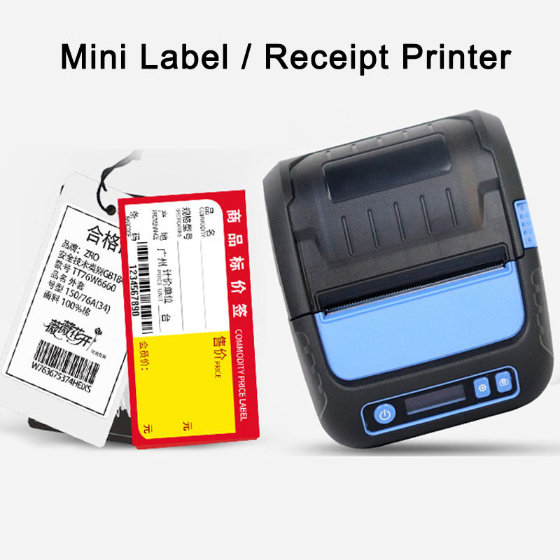 Milestone Portable Bluetooth Label Printer 58 80mm Thermal Receipt Barcode Printer Sticker For Mobile Phone Android
