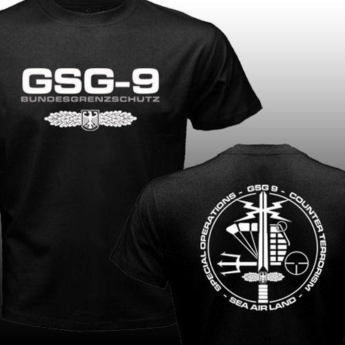 New GSG 9 Germany swat Counter Terrorism Special Operations Unit Police T-shirt Men's Short Sleeve Crek Neck Top Tee Shirt