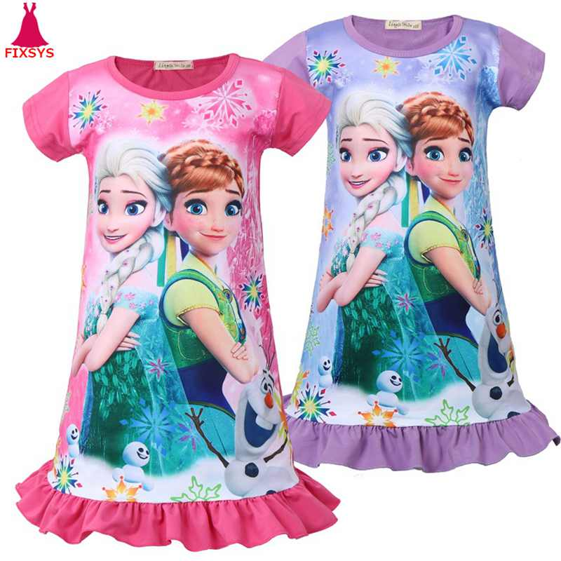 2019 Summer Baby Girls Dress Anime Anna Elsa Children Princess Dresses Cosplay