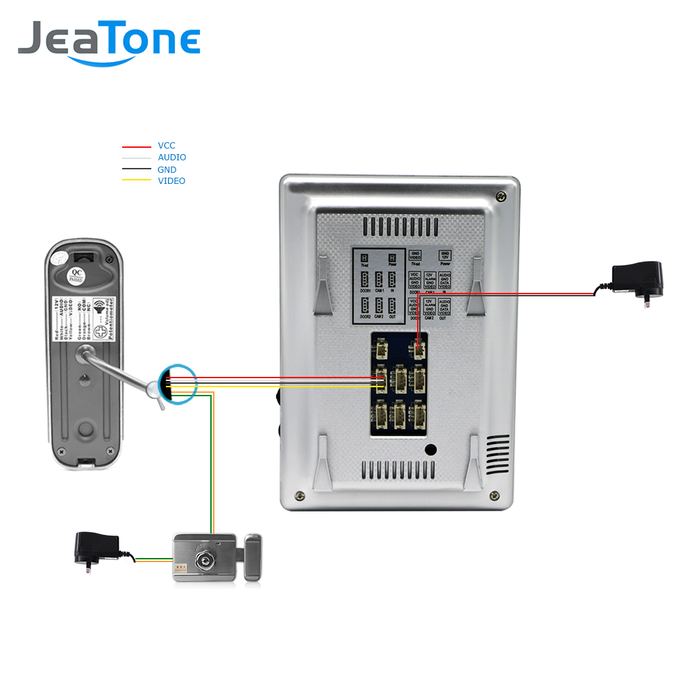 Купить с кэшбэком JeaTone Video Doorbell System 4 Inch 1200TVL Rainproof Night Vision Outdoor Camera And Indoor Monitor Door Intercom Phone Kit