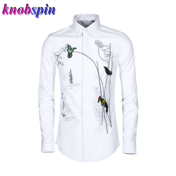 New Arrival 2019 China style Embroidery Shirt men high quality Cotton Clothing male Fashion Beading Slim full sleeve Camisas