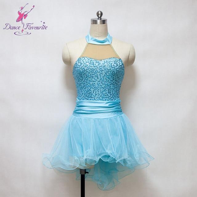 Adult light blue sequin dress ballet dance costume for show women Lyrical  dance dress ballet tutus ballerina dance dress 16089A 5f51921ab6d8