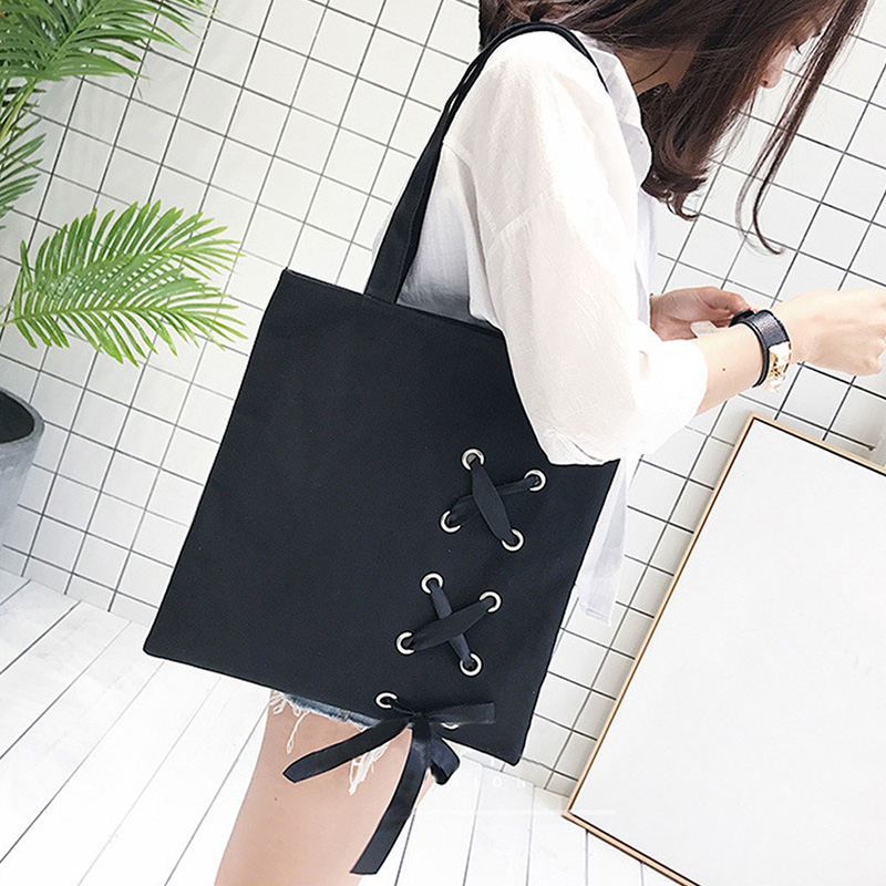 Hot-New Women's Casual Lace-up Canvas Tote Bag Female Canvas Shoulder Bags crossbody bags for women Beach bag bolso mujer(Blac women canvas stripe tote bags casual shopping bags simple shoulder bags lady handtassen sac bandouliere bolso mujer clutch
