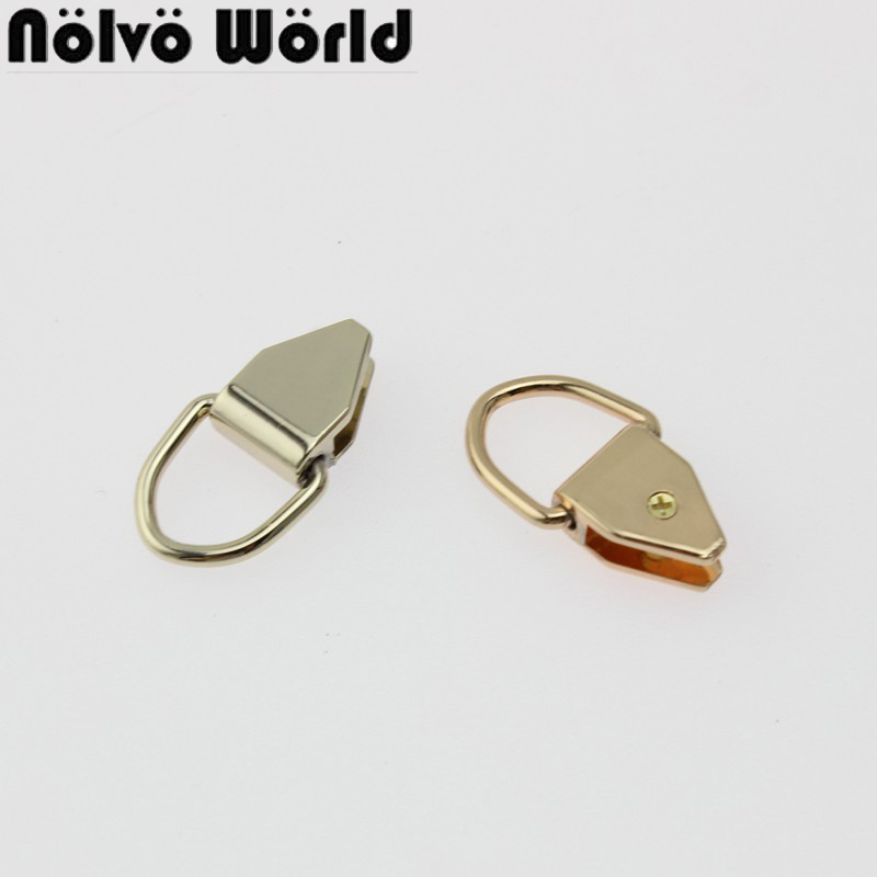 10-50pcs 27mm Gold/Light Gold Purse Bag Wallet Strap Small D Ring End Caps