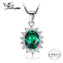 JewelryPalace Princesa Diana William Middleton 2.5ct Esmeralda Creado Nano Ruso 925 de Plata Esterlina Colgante Sin Cadena