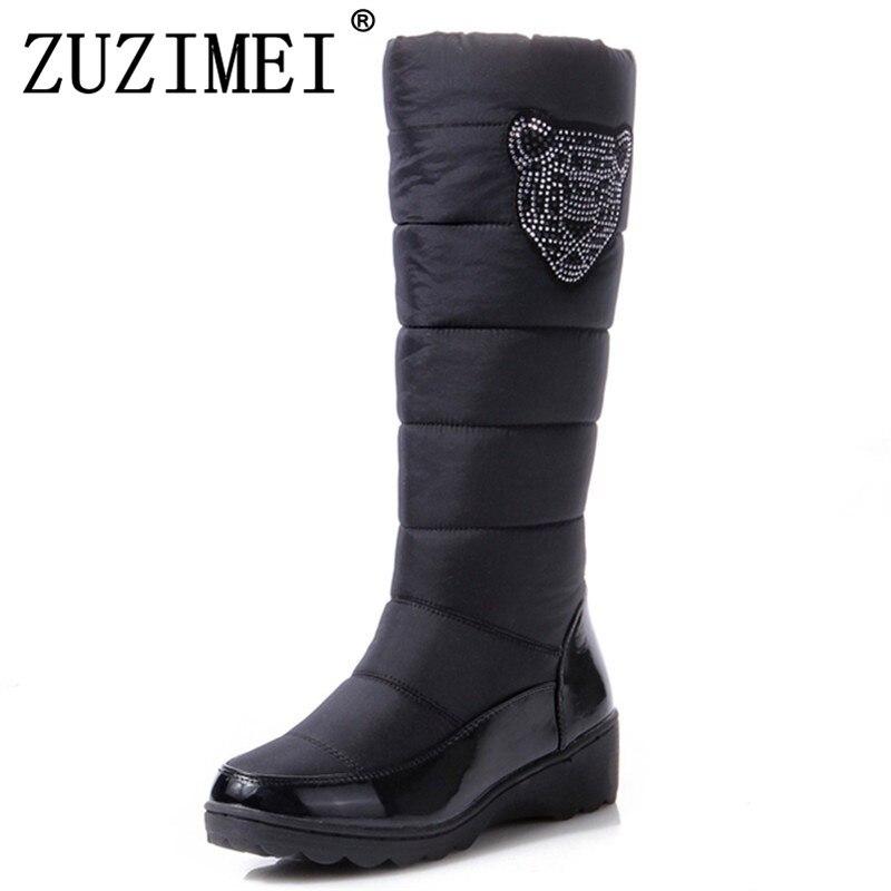74c8baece9160a Bottes Plat Coton 35 D'hiver De bleu Neige forme Fourrure Étanche Genou 44  La 2018 Haute Chaussures ...