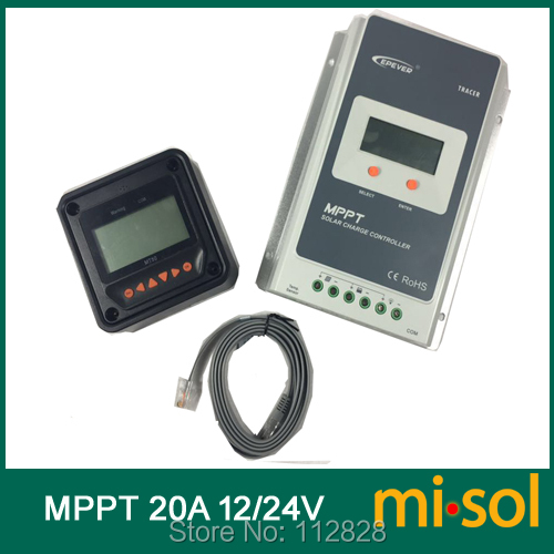 Misol Tracer MPPT Solar regulator 20A with remote meter, 12/24v, Solar Charge Controller 20A, NEW цены онлайн