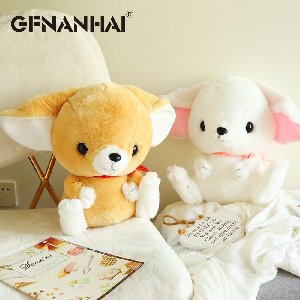 1pc 40cm big ear fox plush toy stuffed soft kawaii face expression animal fox dolls home decor birthday gift for children girls