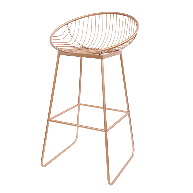H Fashion Golden Nordic Bar Stool Bar Chair Creative Coffee Chair High Stool Simple Dining Chair Wrought Iron With Soft Cushion