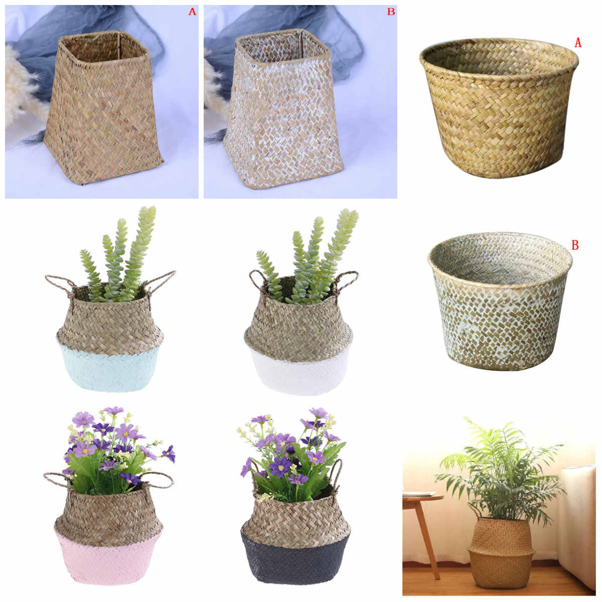 Storage Baskets Foldable Laundry Straw Patchwork Wicker Rattan Seagrass Belly Garden Flower Pot Planter Basket Handmade Bamboo