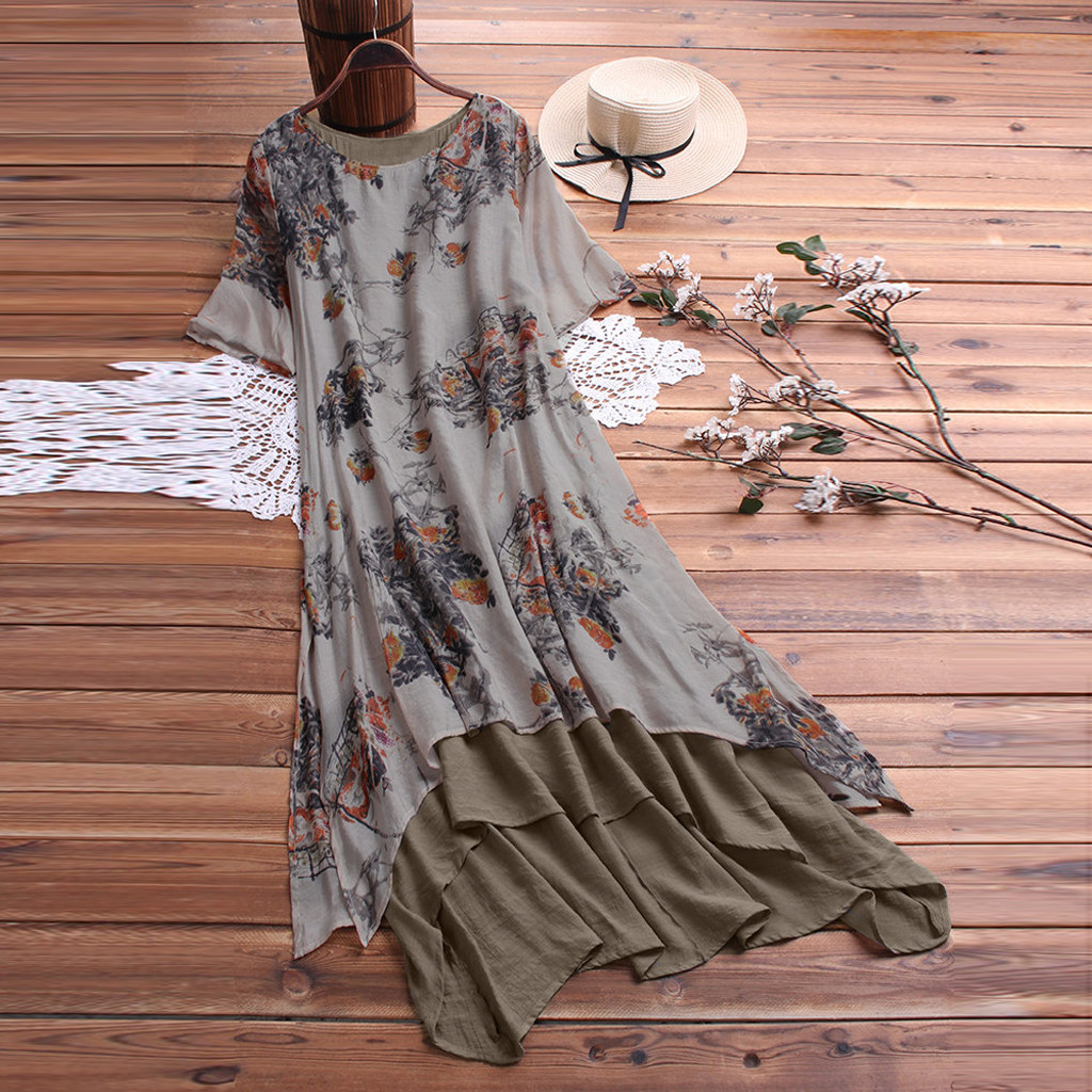 Boho Dress Vintage Print Patchwork Short Sleeve O-Neck