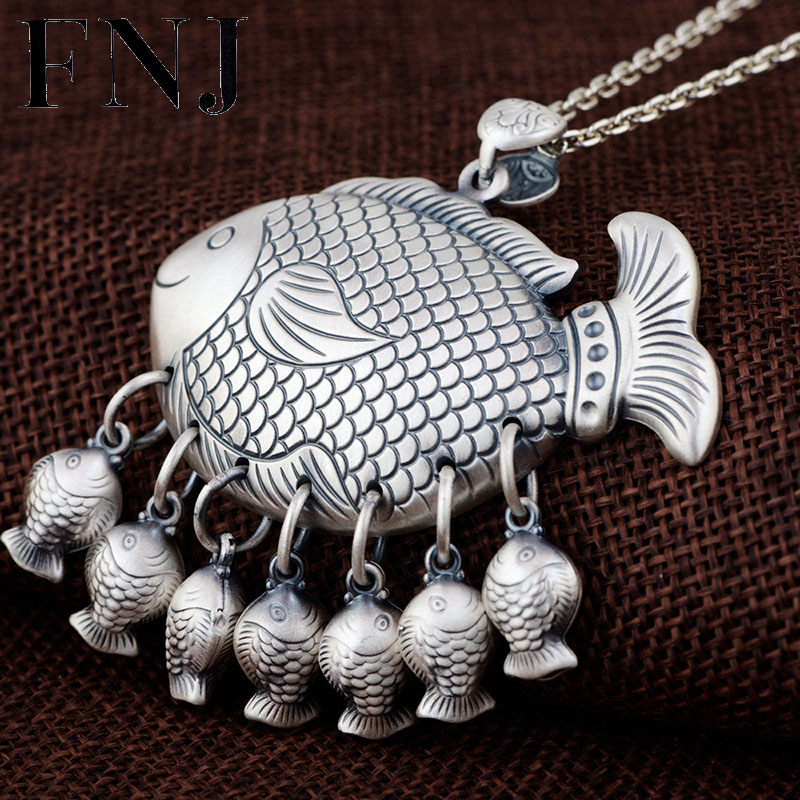 FNJ 925 Silver Fishes Pendant Hang Fish Original S990 Thai Silver Pendants Women for Jewelry Making genotoxic potential in fishes