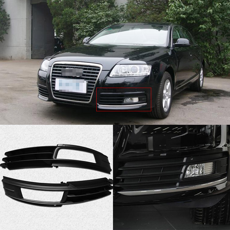 Ipoboo Black Auto Front Bumper Driving Fog Lights Cover Lamp Frame Trim For Audi A6 C6 2009-2011 car front bumper mesh grille around trim racing grills 2013 2016 for ford ecosport quality stainless steel