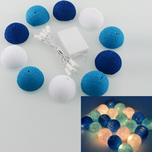 Aladin 10 LED Romantic Cotton Ball Gorgeous Creative String Light Blue Party Christmas Tree Decor Decoration 1.8M(China)