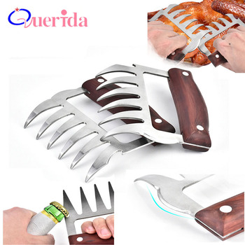 2 Pcs/Set Stainless Steel Bear Claw Wooden Handle Meat Divided Tearing Flesh Multifunction Meat Shred Pork Clamp BBQ Tool 1