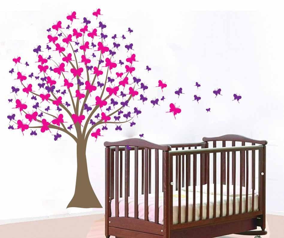 Ξfille pini arbre Sticker Mural grand vinyle stickers muraux ...