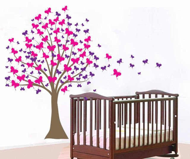 Baby Girl Nursery Tree Wall Sticker Large Tree Vinyl Wall Decals Kids Room  DIY Tree Sticker Part 86
